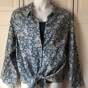 Seven7 blue floral casual buttondown blouse, 22/24